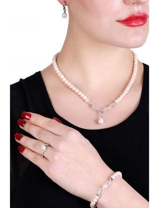 Lulu Jewelery İncili Gelinlik Set Gümüş LL0168