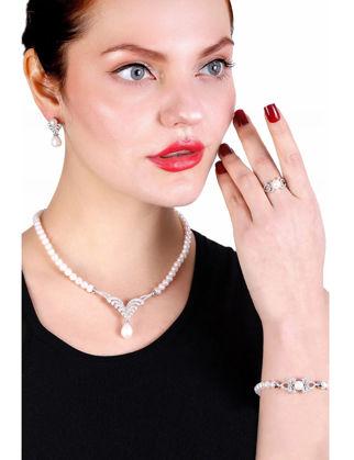 Lulu Jewelery Kanat Gümüş İnci Set LL0170