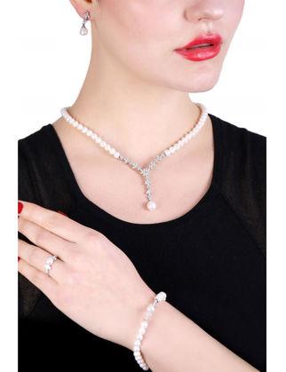 Lulu Jewelery Kar Tanesi İncili Gümüş Set LL0171