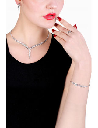 Lulu Jewelery Kar Tanesi Su Yolu Gümüş Set LL0176