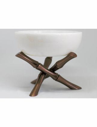 Marleth Bambu Pirinç Ayaklı Mermer Kase 15x15 cm BMB002
