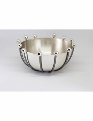 Marleth Ahtapot Pirinç Dekor Kase Gümüş 13 cm AHT400