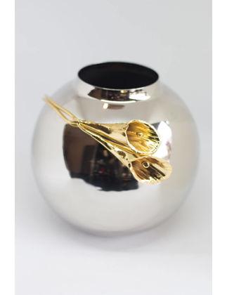 Marleth Pirinç Laleli Gümüş Top Vazo 17x17 cm LAL100