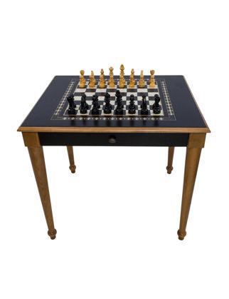 Helena Wood Art Satranç Masası Torna Ayak (70x80x72 cm) Çekmeceli 9312.BLK
