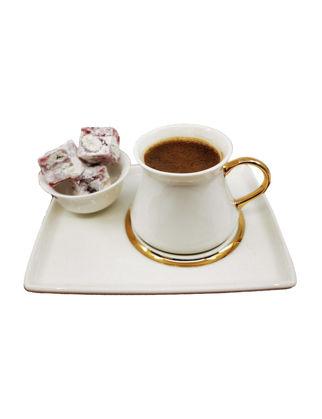 Anatoli Ferah Kahve Keyifliği Takımı 2 Kişilik Altın Dekor Beyaz Seramik (6 Parça) 8680571849929