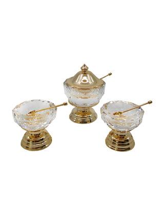 Anatoli Işıltı Tuzluk Biberlik Seti Altın Kaplama Şeffaf Cam 8680571820058
