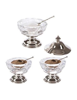 Anatoli Işıltı Tuzluk Biberlik Seti Gümüş Kaplama Şeffaf Cam 8680571818604