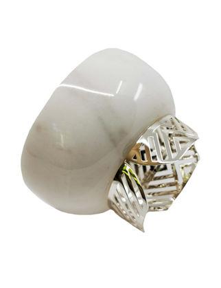 Anatoli Kase Zigzag Büyük Boy Beyaz Mermer/Gümüş Kaplama 8680571846409