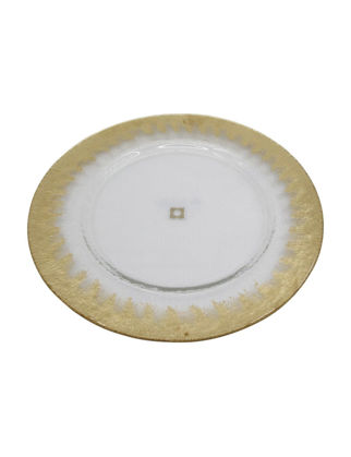 Anatoli Supla Pür Halka Desen 32 cm Altın Dekor/Şeffaf Cam 8680571848755