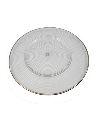 Anatoli Supla Pür Halka Desen 32 cm Platin Dekor/Şeffaf Cam 8680571848762