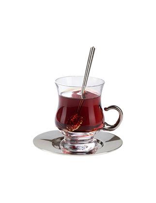 Anatoli Tiryaki Çay Takımı 2'li Gümüş Kaplama Şeffaf Cam (6 Parça) 8680571816730