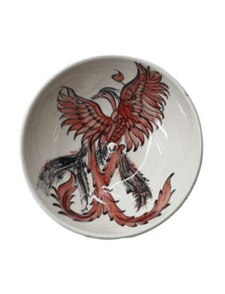 Anatoli Tabak Anka Kuşu 16x16x6 cm Siyah/Beyaz/Kırmızı Dekor 8680571853643