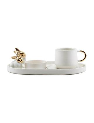 Magie Design Saf Beyaz Tavşan Türk Kahvesi&Espresso Seti 35006