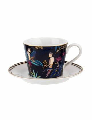 Portmeirion Tahiti Çay Fincanı+Tabağı-Cockatoo RW.SMTC.78924-XG