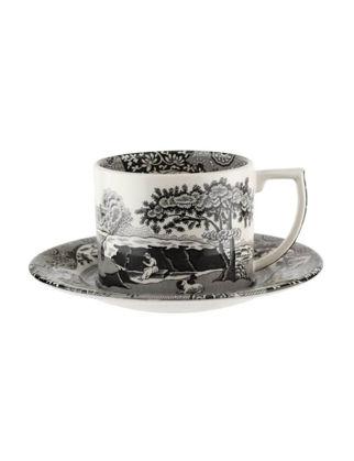 Spode Black Italian Çay Fincanı+Tabağı 2'li Kaşıklı RW.BKI.8761