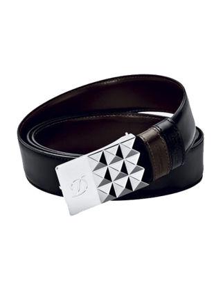 S.T. Dupont Siyah/Kahverengi Çift Taraflı Deri Kemer 7770120
