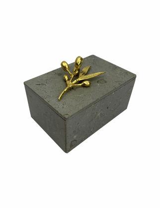 Mi'Marb Design Wheel Collection Mermer Mücevher Kutusu Zeytin Dalı Metali ile MIM-BX-07