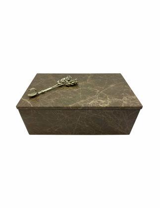 Mi'Marb Design Wheel Collection Mermer Mücevher Kutusu Başak Metali ile MIM-BX-06
