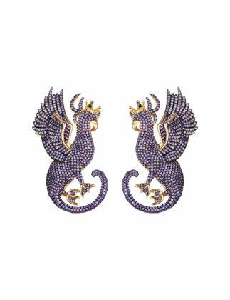Canan Yolaç Stamboul Mystery Of Art Purple Crystal Mitolojik Sfenks Küpe CYMOA2025