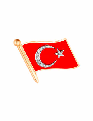 Molu Pırlantalı Mineli Türk Bayrağı Rozet KL-6761-019