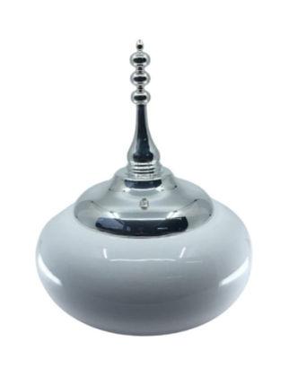Anatoli Zembil Vazo Beyaz Seramik Büyük Boy Gümüş Kaplama 8680571836738